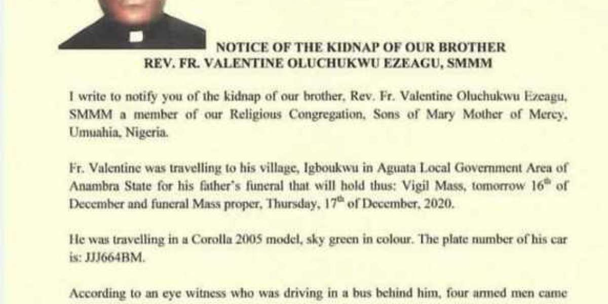 Valentine Oluchukwu: Priest Kidnapped While Travelling For His Father's Burial